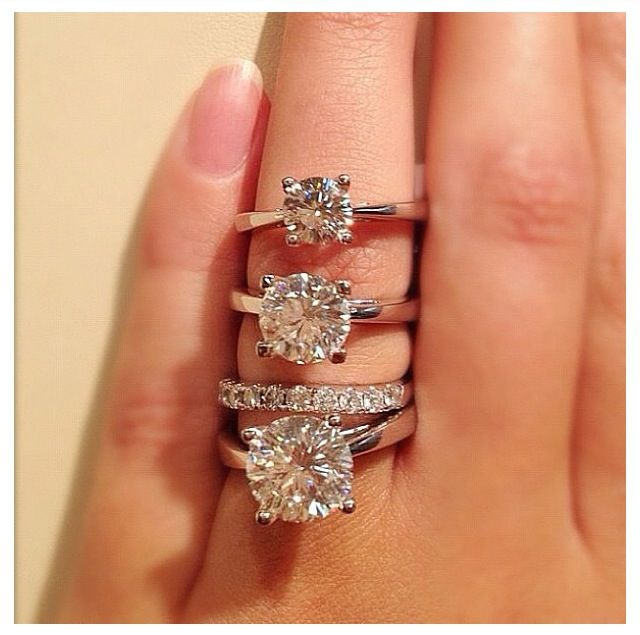 1, 2, and 3 carat diamond rings. I think my tiny finger ...