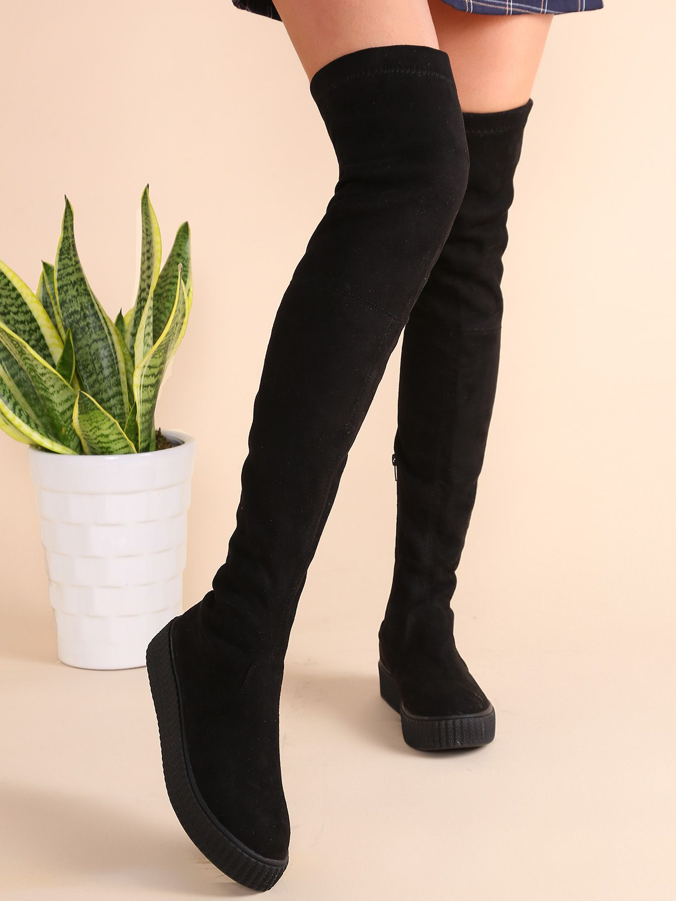 f8c3009de5 Black Round Toe Zipper Over The Knee Boots -SheIn(Sheinside ...