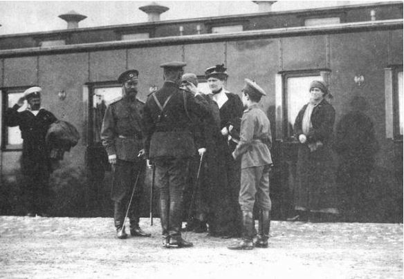 Nicholas II, Grand Duchess Tatiana, Empress Alexandra, Tsarevich Alexei, and Grand Duchess Maria outside the Imperial Train: Mogilev: 1916.