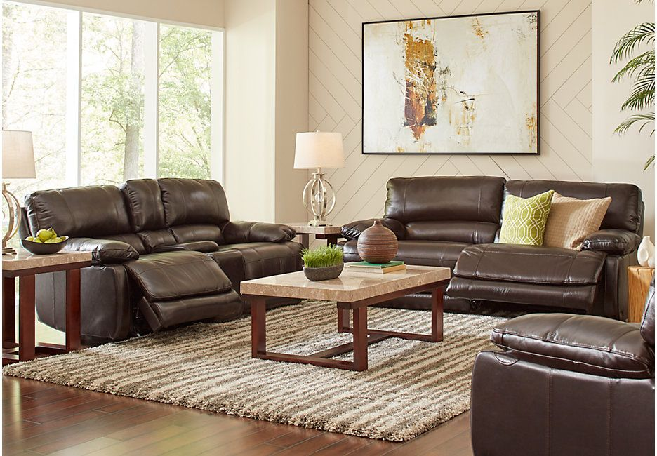 Affordable Living Room Designs Enchanting Cindy Crawford Home Auburn Hills Brown Leather 3 Pc Reclining Decorating Inspiration