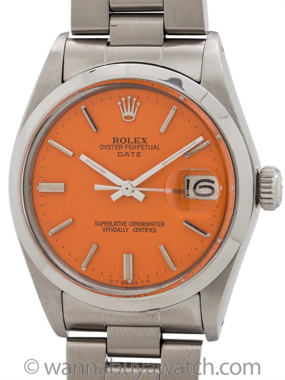 Rolex Oyster Perpetual Date Ref 1500 Circa 1970 Orange Sherbert Rolex Oyster Perpetual Date Rolex Oyster Rolex
