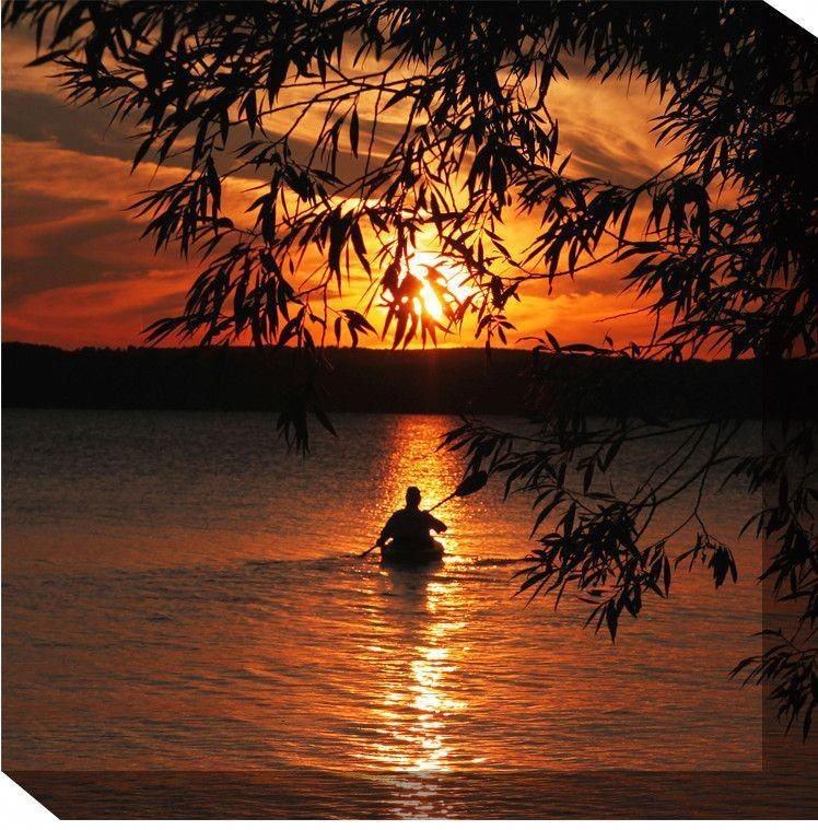 Kayak Sunset Framed Photographic Print On Wrapped Canvas In 2021 Sunset Canvas Kayaking Outdoor Canvas