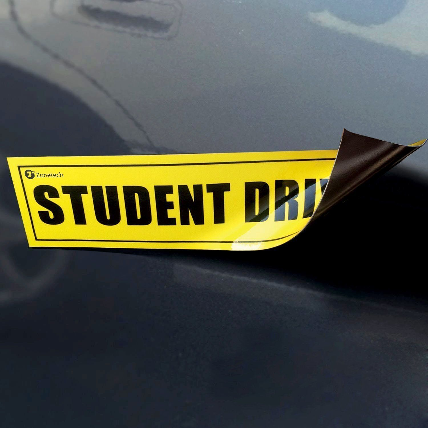 Zone tech student driver yellow magnet reflective magnetic vehicle car sign magnet