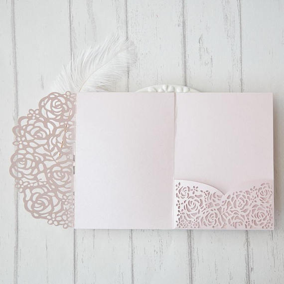 Laser Cut Pocket – Blush Shimmer Wedding Invitation – Rose Lasercut Pocket – DIY Wedding Invitation