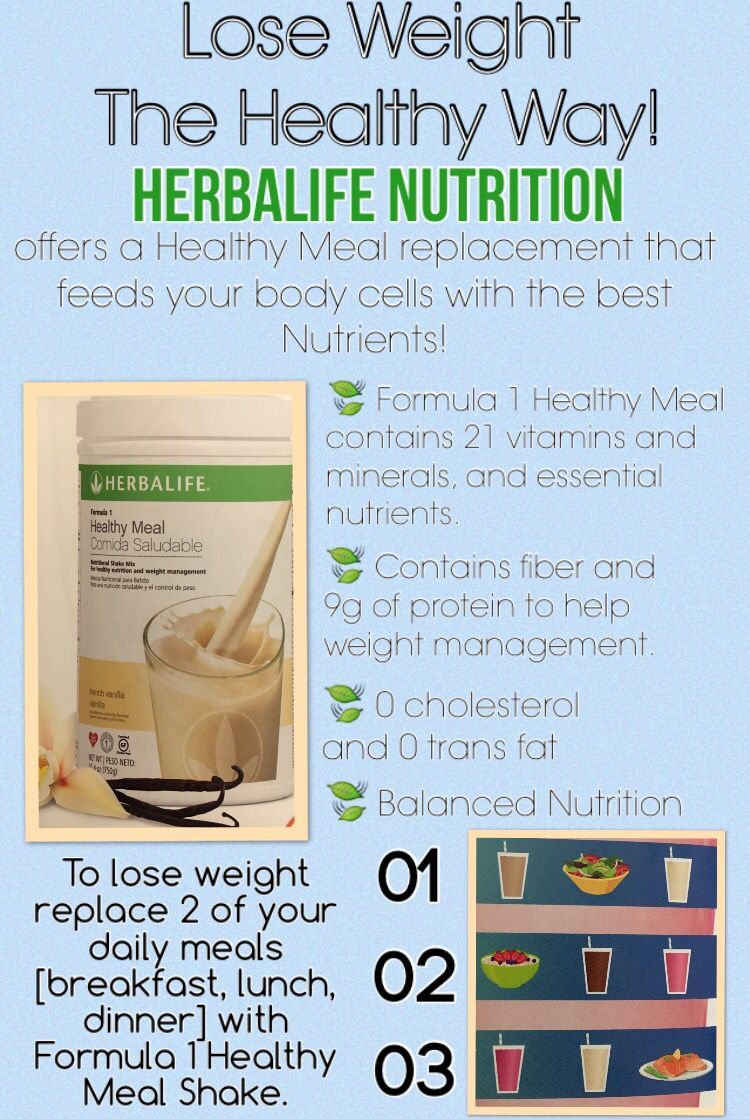 Consumers who use Herbalife® Formula 1 twice per day as part of a healthy  lifestyle can generally expect to lose around 0.5 to 1 pound per week.