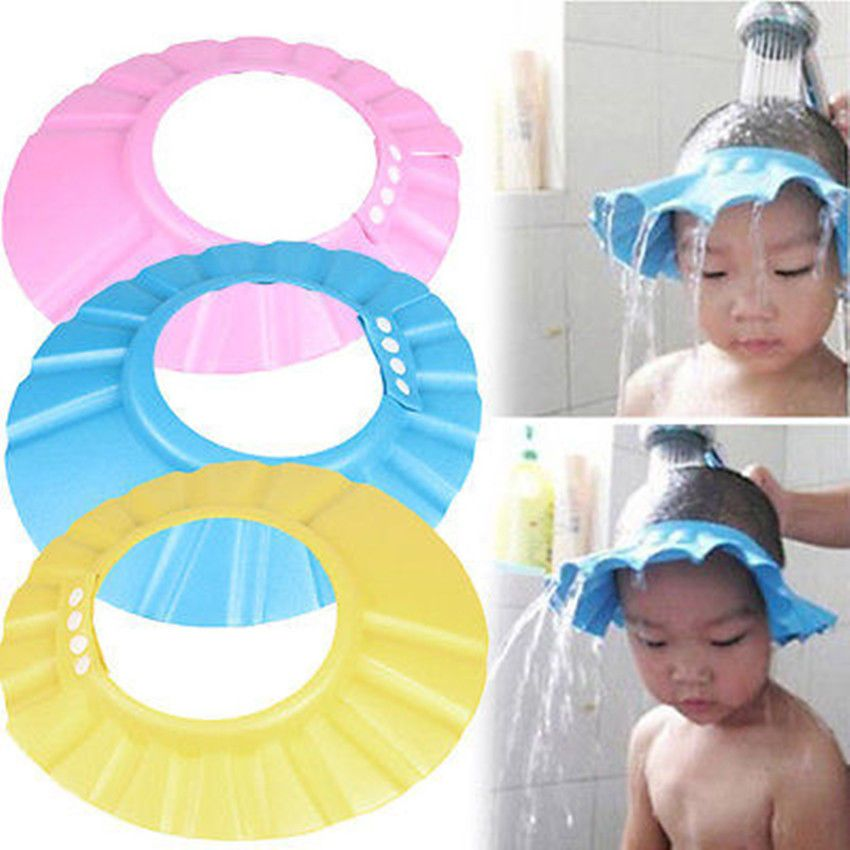 Wonderful Bathroom Soft Shower Wash Hair Cover Head Cap Hat For Child Toddler Kids  Bathing Adjustable Baby