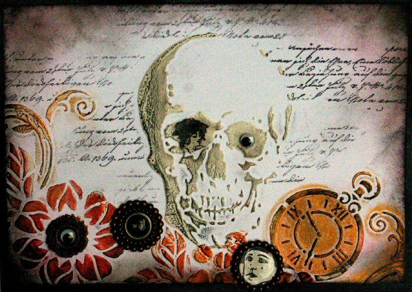 Halloween-Wichtel-Karte zu Halloween, gestaltet mit Schablonen, Papier-Reliefpaste, Inka Gold, Paper Soft Color und Motivstempeln - Daniela Rogall