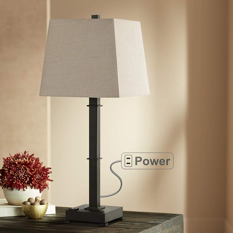 Madison Oil Rubbed Bronze Table Lamp With Base Utility Plug 68d38 Lamps Plus Bronze Table Lamp Table Lamp Lamp