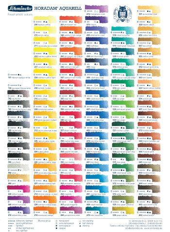 Schmincke Horadam Watercolour Printed Colour Chart Schmincke