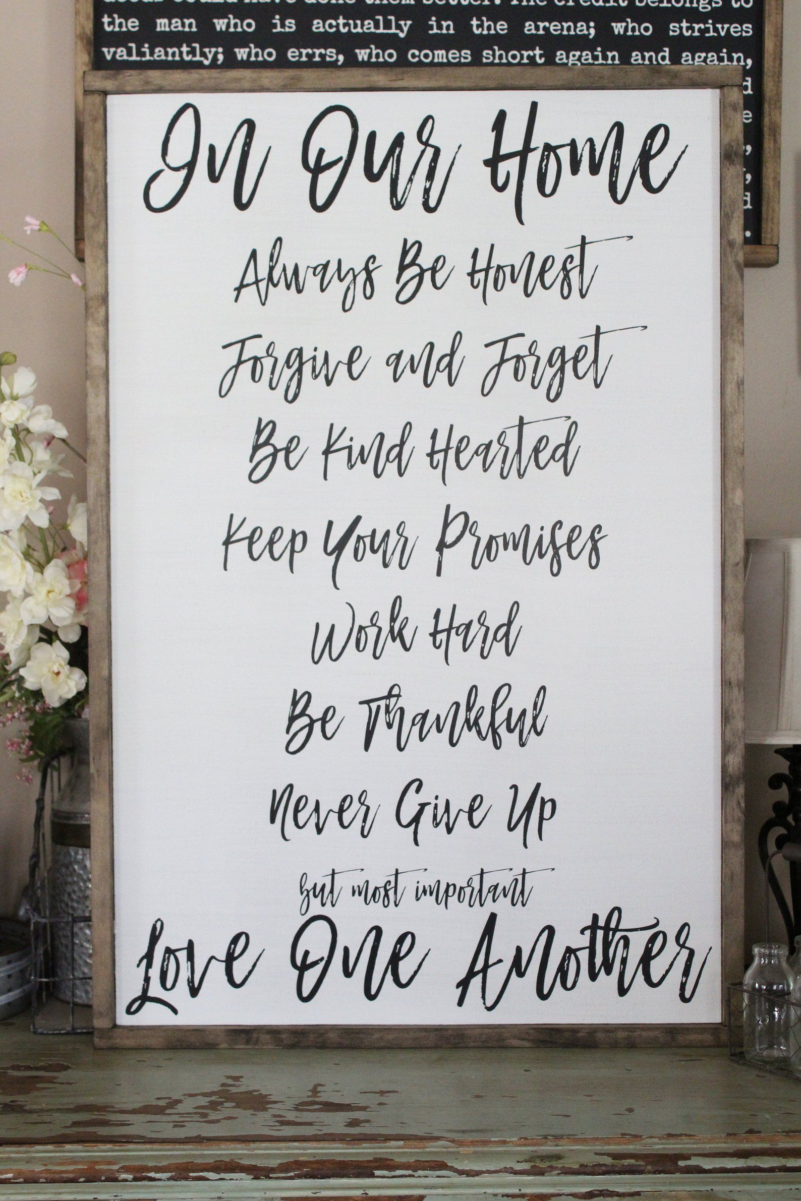 Family Rules Wood Sign In Our Home Framed Plaque Be Thankful Wall Art Farmhouse Style Decor Large Sign Saying Living Room Wall Art Family Rules Sign Quotes Family Rules Sign