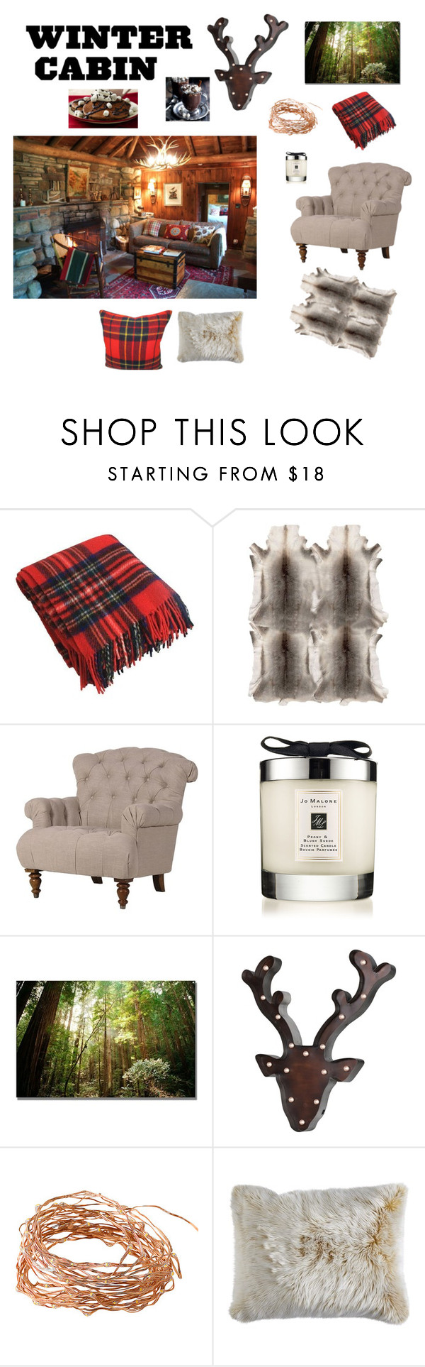 """Cabin in the woods"" by la-gatta-sul-tetto ❤ liked on Polyvore featuring interior, interiors, interior design, home, home decor, interior decorating, Visionnaire, Jo Malone, Trademark Fine Art and Pier 1 Imports"
