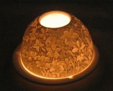 Limoges Bernardaud Riot Of Flowers Lithophane Candle Holder $40