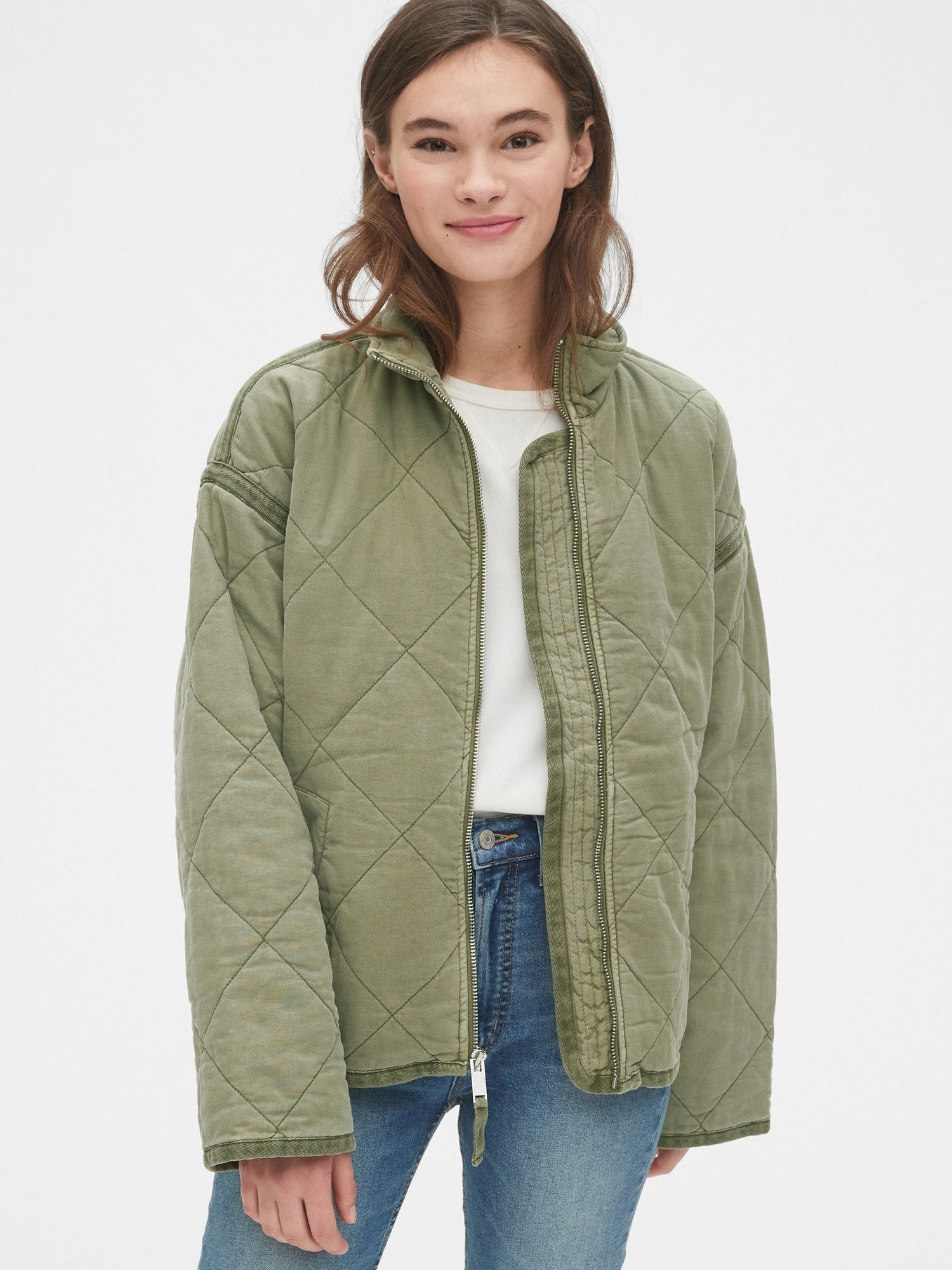 Quilted Jacket Gap Coats Jackets Women Quilted Jacket Jackets [ 2000 x 1500 Pixel ]