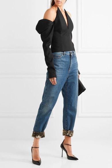 1476deda680 Saint Laurent - Cropped Sequin-embellished High-rise Boyfriend Jeans - Mid  denim
