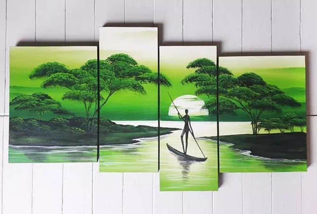lukisan pemandangan nelayan hijau jumbo ㅤㅤ lukisan 100 asli