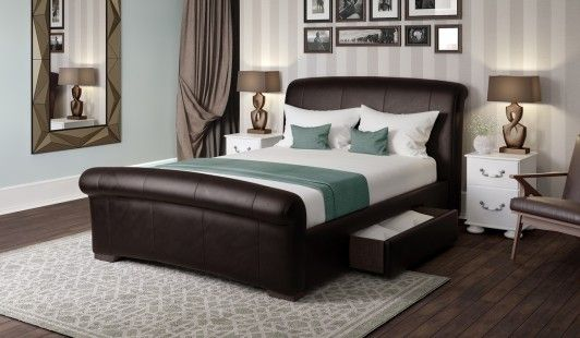 Best Santino Brown Faux Leather Bed Frame 150Cm With Images 400 x 300