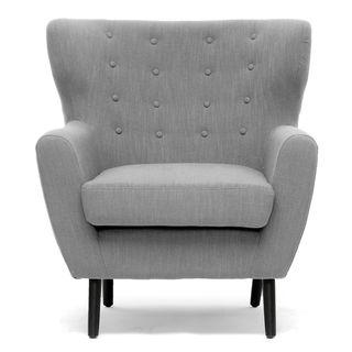 Superior Baxton Studio Moretti Light Grey Linen Modern Club Chair (Club Chair Grey)  (Wood)