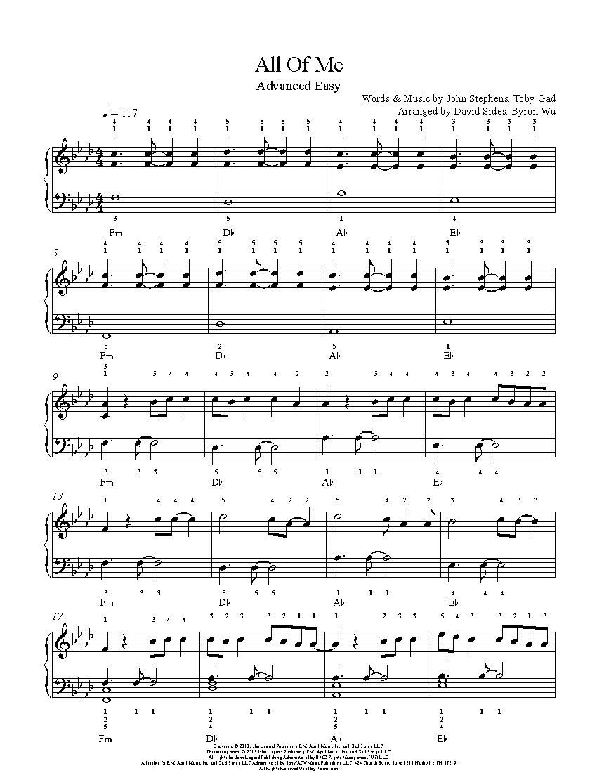 All Of Me By John Legend Piano Sheet Music Advanced Level With