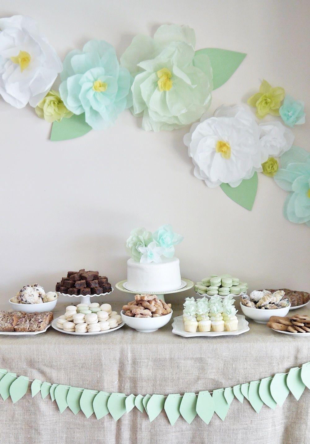 Tissue paper flower decor for garden tea party dessert for Baby shower flower decoration