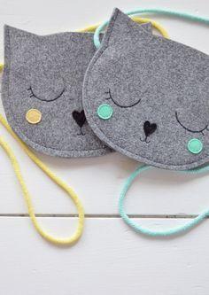 Kids bag, Purse for girl, Gift for girl, Cat Bag, Mini Grey childrens bag, kids bag, kids purse, animal bag, handmade, girl bag, pastel