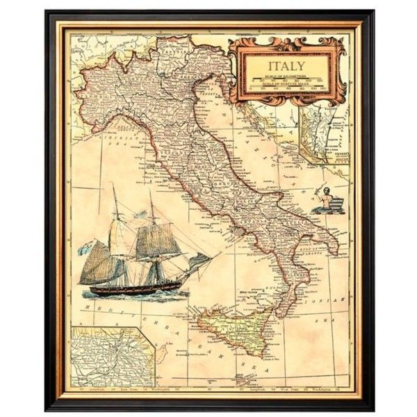 ArtCom Assorted Italy Map Framed Art Print ($75) ❤ liked on