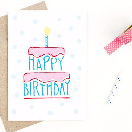 Happy birthday card hand drawn happy birthday and envelopes happy birthday card made in cincinnati bookmarktalkfo Image collections