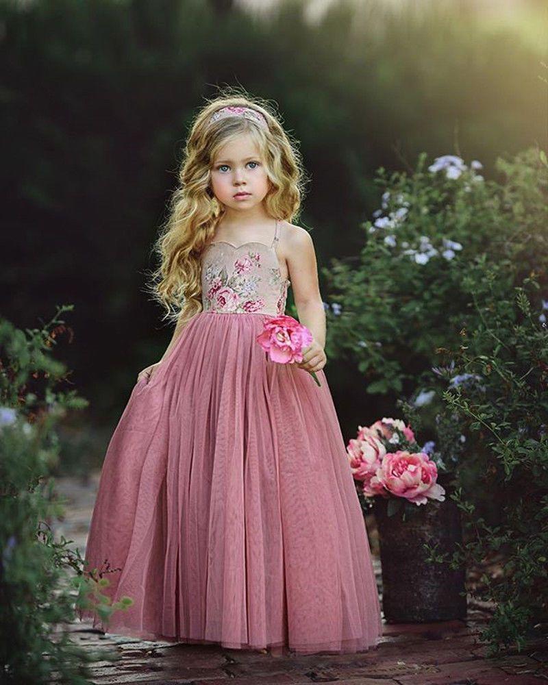 Pageant flower girl dress kids birthday wedding bridesmaid gown