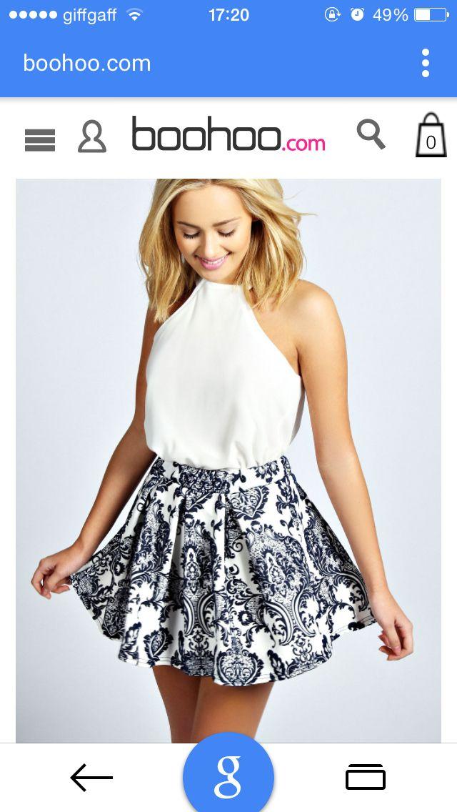 6cb409785f Boohoo | Clothes | Skirt fashion, Blue skater skirt, Midi skater skirt