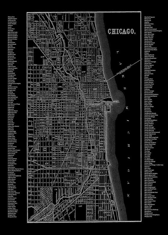 Chicago Neighborhood Map Black Print Poster by TheMapShop on Etsy, $12.95