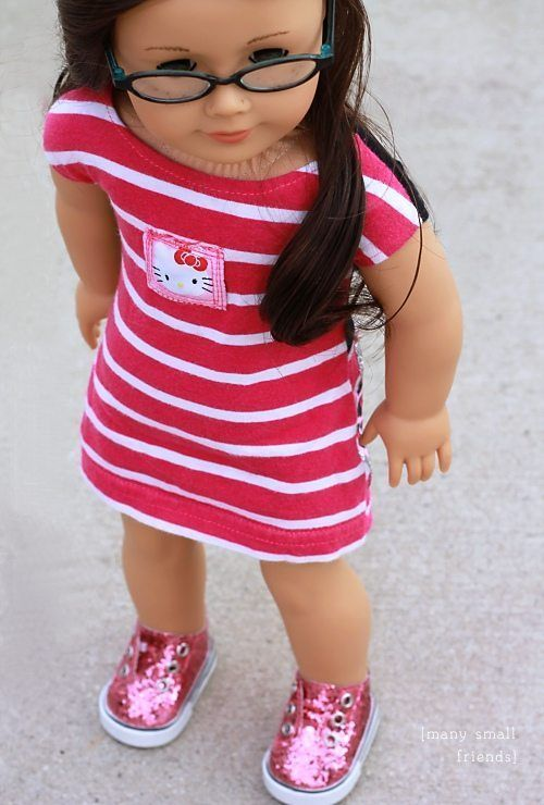 Sew a American Girl Doll Dress from a t shirt #bedfalls62 Sew a American Girl Doll Dress from a t shirt #bedfalls62