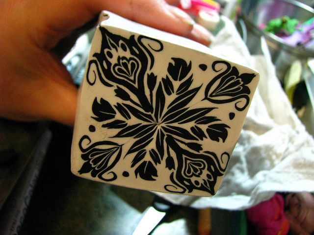 black and white damask cane by Wanda's Designs