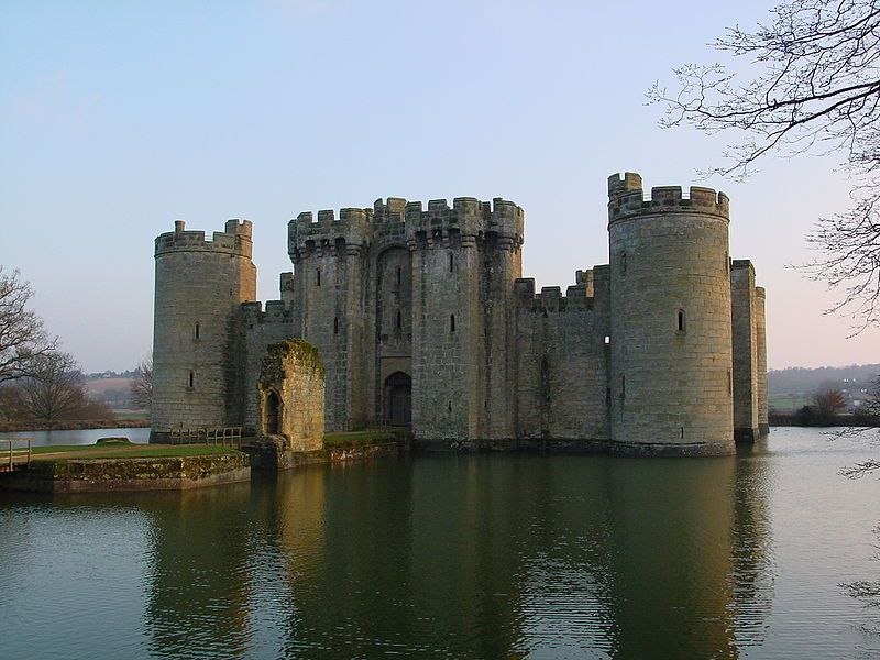 Bodiam Castle In East Sussex Which Has A Clear Rectangular