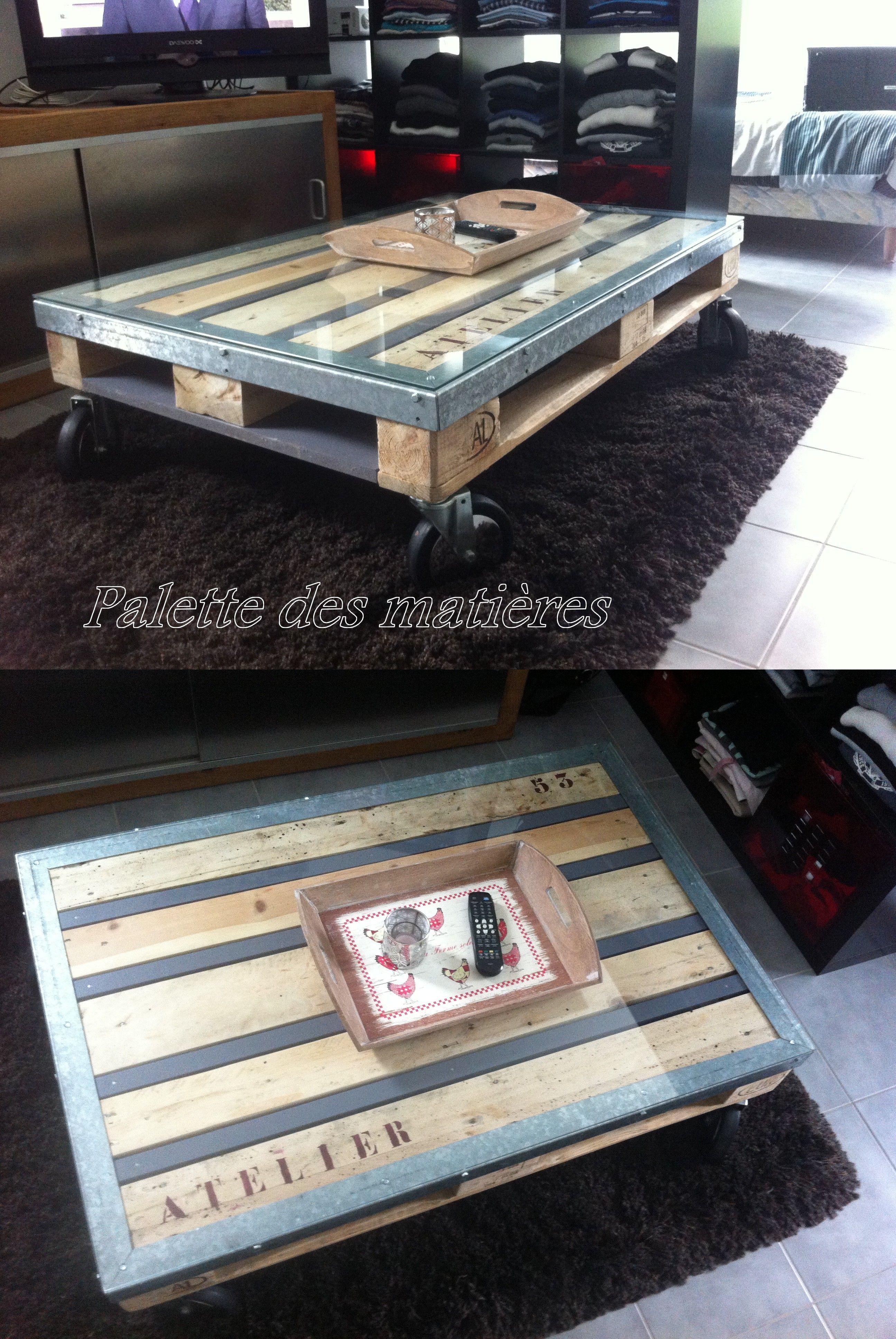 table basse palette cornieres metal verre f pionnier