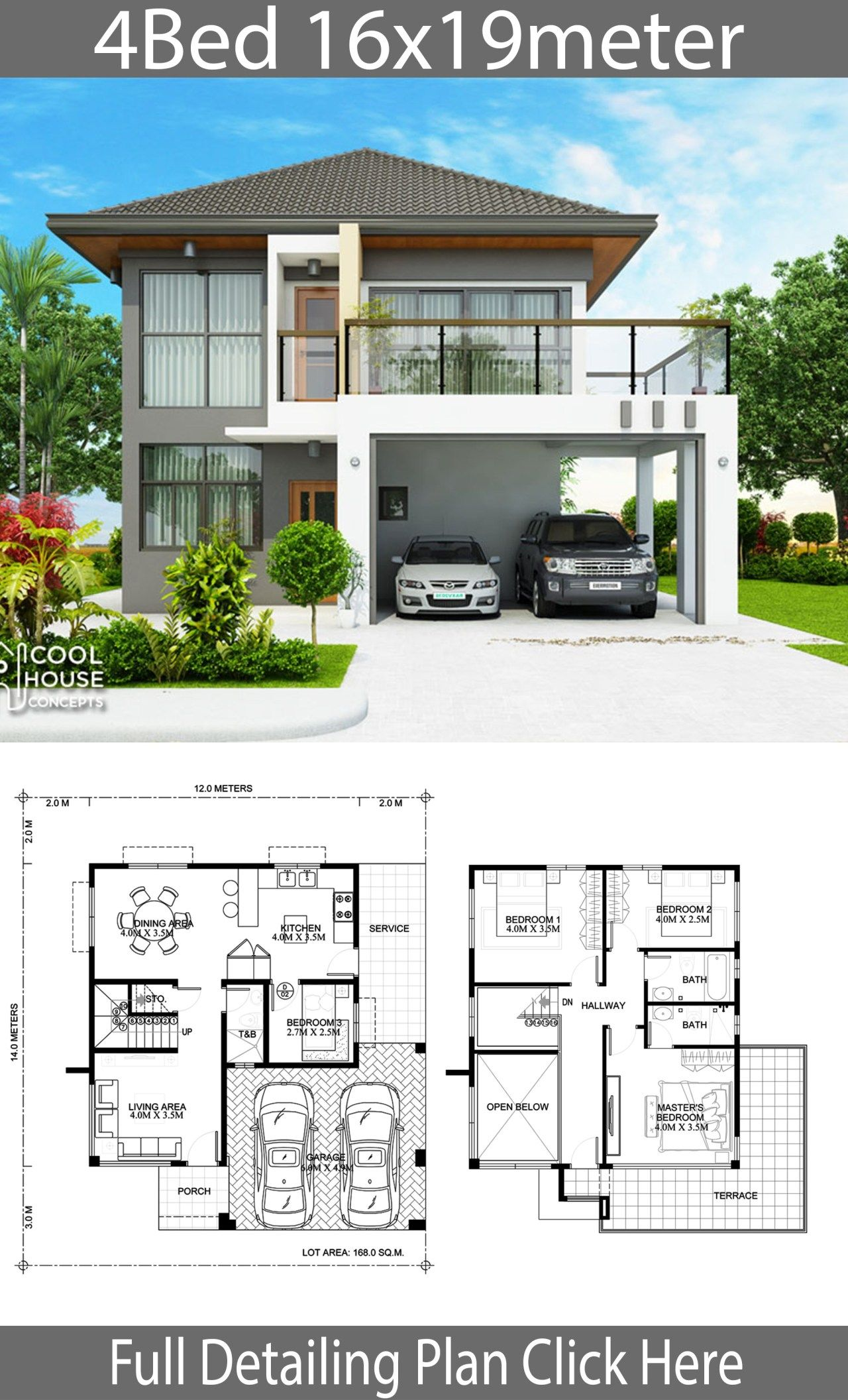 Home design plan 16x19m with 4 Bedrooms | Philippines ...