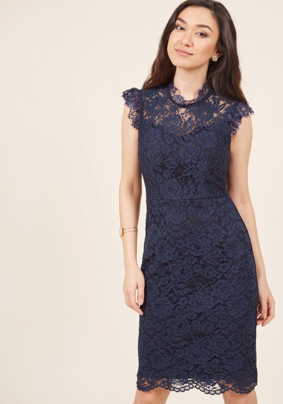 5853a442826 Mock Neck Lace Sheath Dress in Navy   Wedding   Lace sheath dress ...