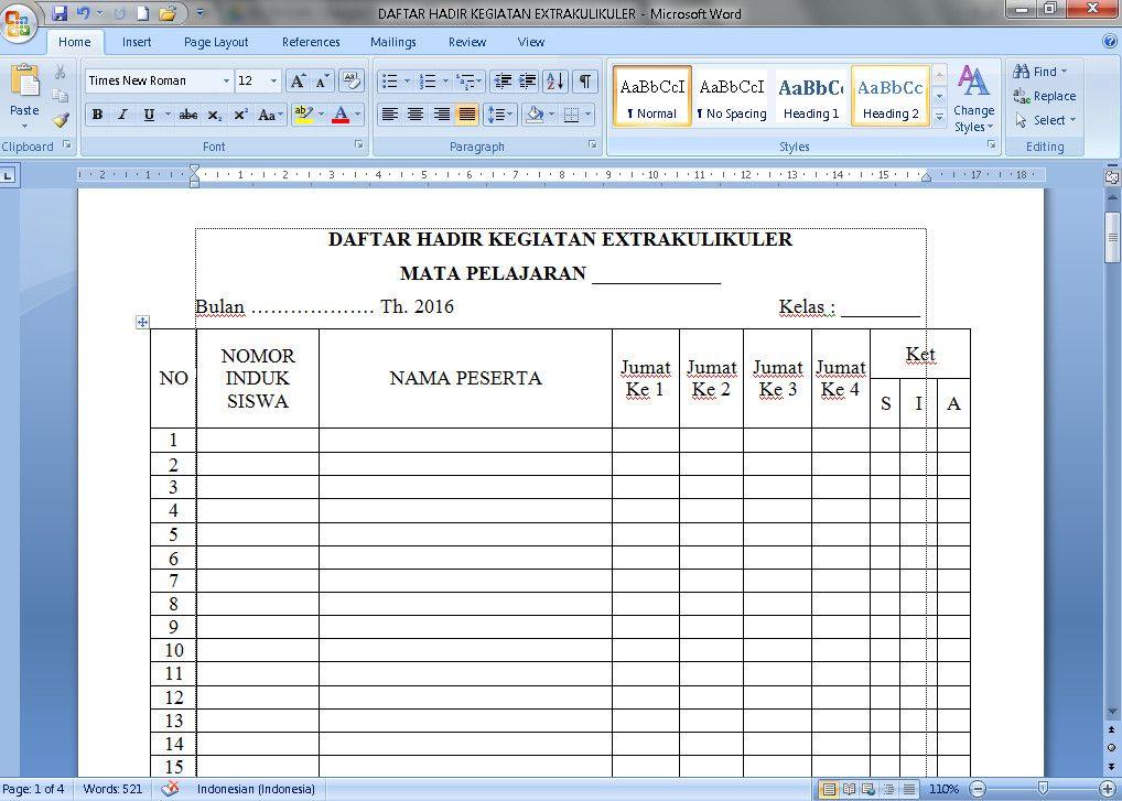 Dokumen Contoh Daftar Hadir Kegiatan Ekstrakurikuler