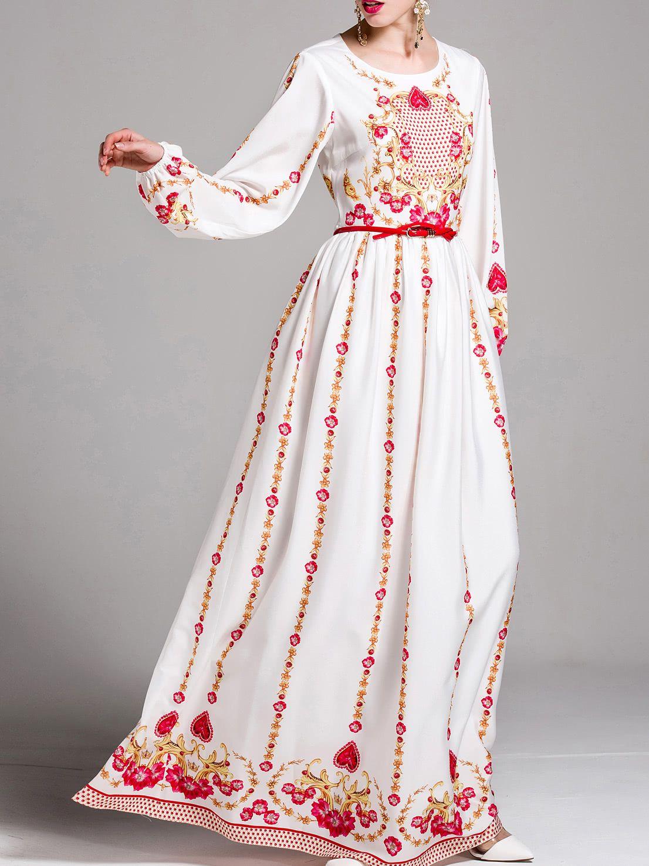 c18064059efc Vintage Print Puff Sleeve Maxi Dress -SheIn(Sheinside) | Virtual ...