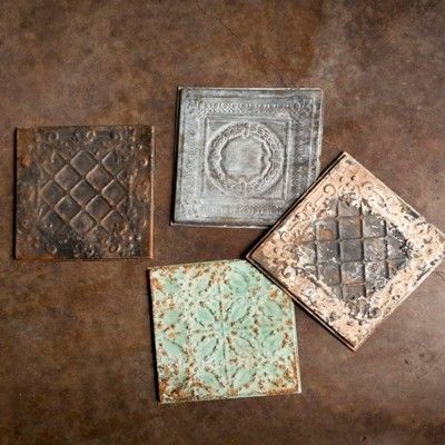 Architectural Details Two 12 X 12 Embossed Tiles Tin Ceiling Tiles Vintage Tin Ceiling Tile Tin Ceiling