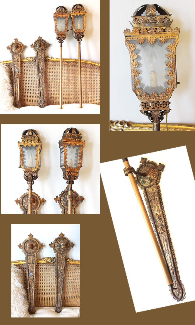 Incredible Antique Italian Tochiere Lantern Wall Sconces Lighting Chandelier Beaded French Vintage Shabby Chic Sconce