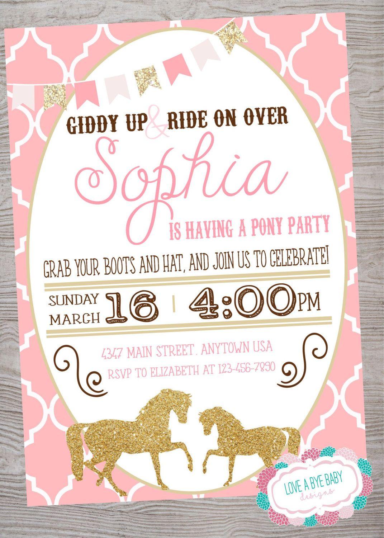 Vintage Pony / Horse Birthday Baby Shower Party invitation ...
