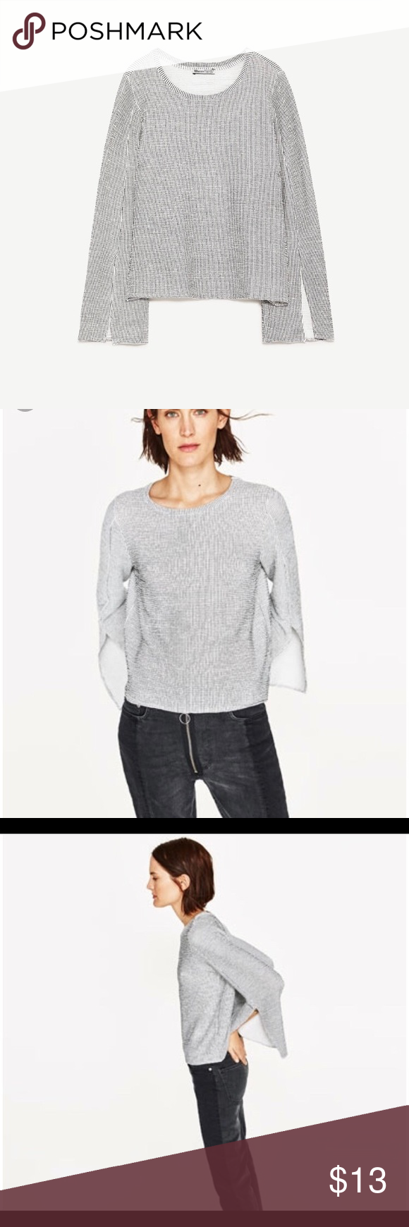 889f917a244e2 Open sleeve Jacquard top Open sleeve jacquard top from Zara Zara Tops Tees  - Long Sleeve