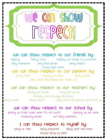 Showing respect, free printable - or you could make this into an - make a t chart in word
