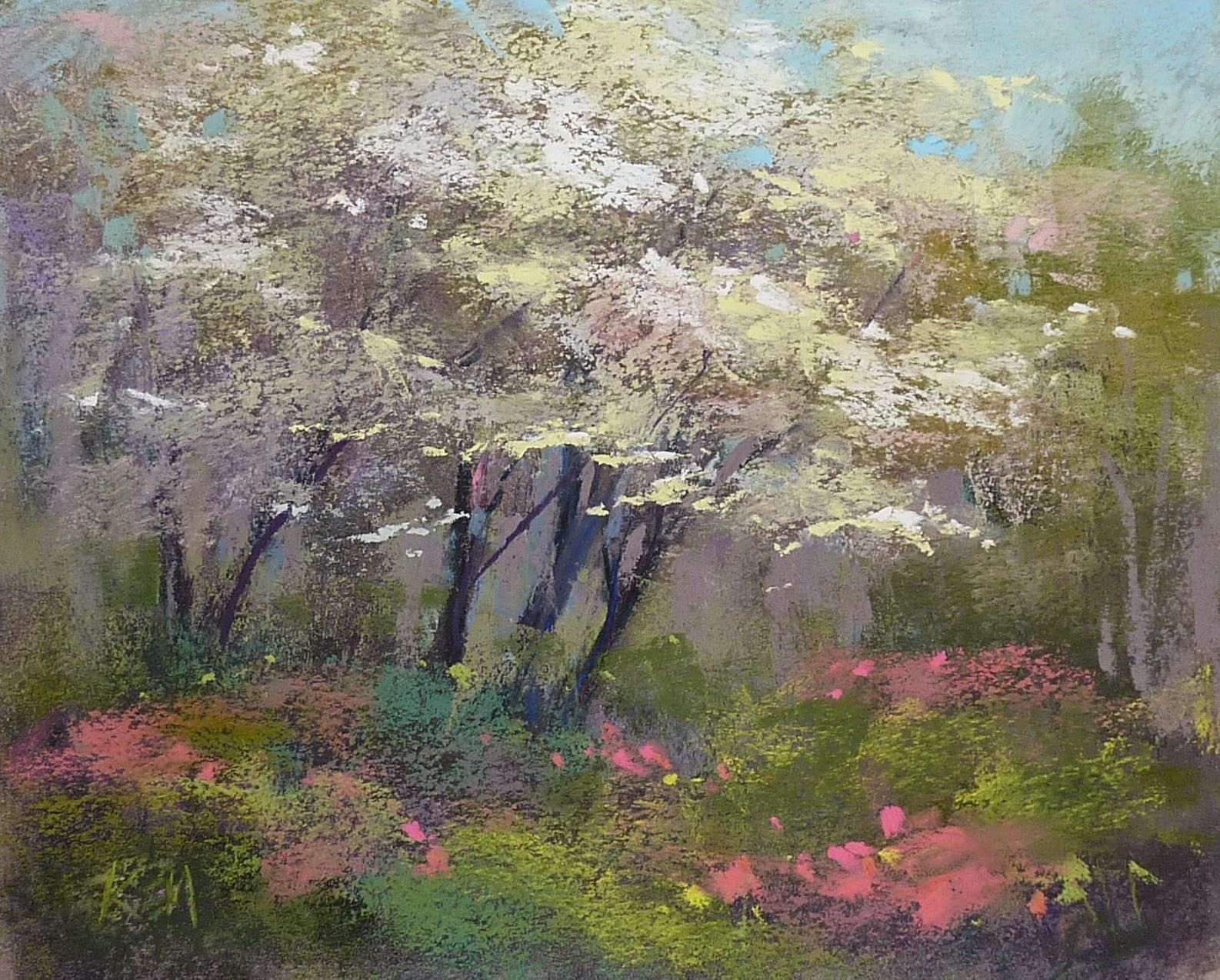 Painting A Dogwood Tree In Three Easy Steps Original Art Painting Pastel Painting Tree Painting