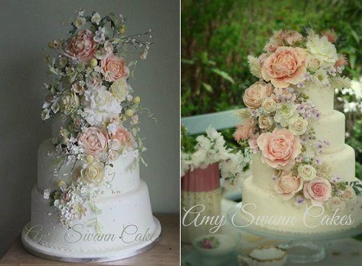 Trailing Sugar Flowers Wedding Cakes By Amy Swann