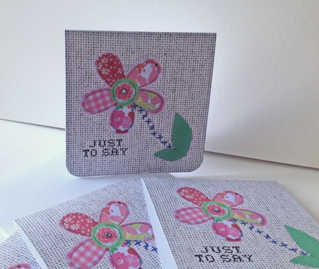 Set of Four Notecards,'Patch Petals' Blank Notecards & Envelopes,Hand Finished £3.00