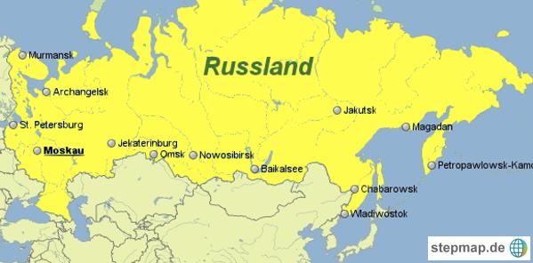 Russland Landkarte Mit Groessten Staedten Russland Landkarte
