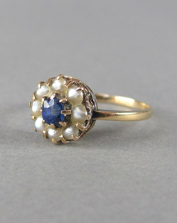 Pretty Gold Seed Pearl And Sapphire Antique Victorian Engagement