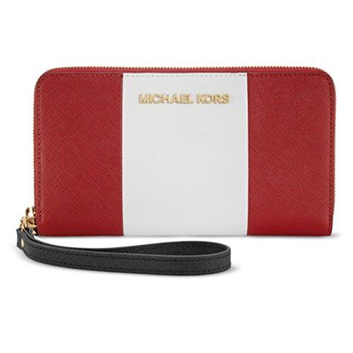 aaa5fc946b66 Michael Kors iPhone 6 Plus Large Zip Wristlet Clutch Wallet Red White Black  Saffiano Leather Michael