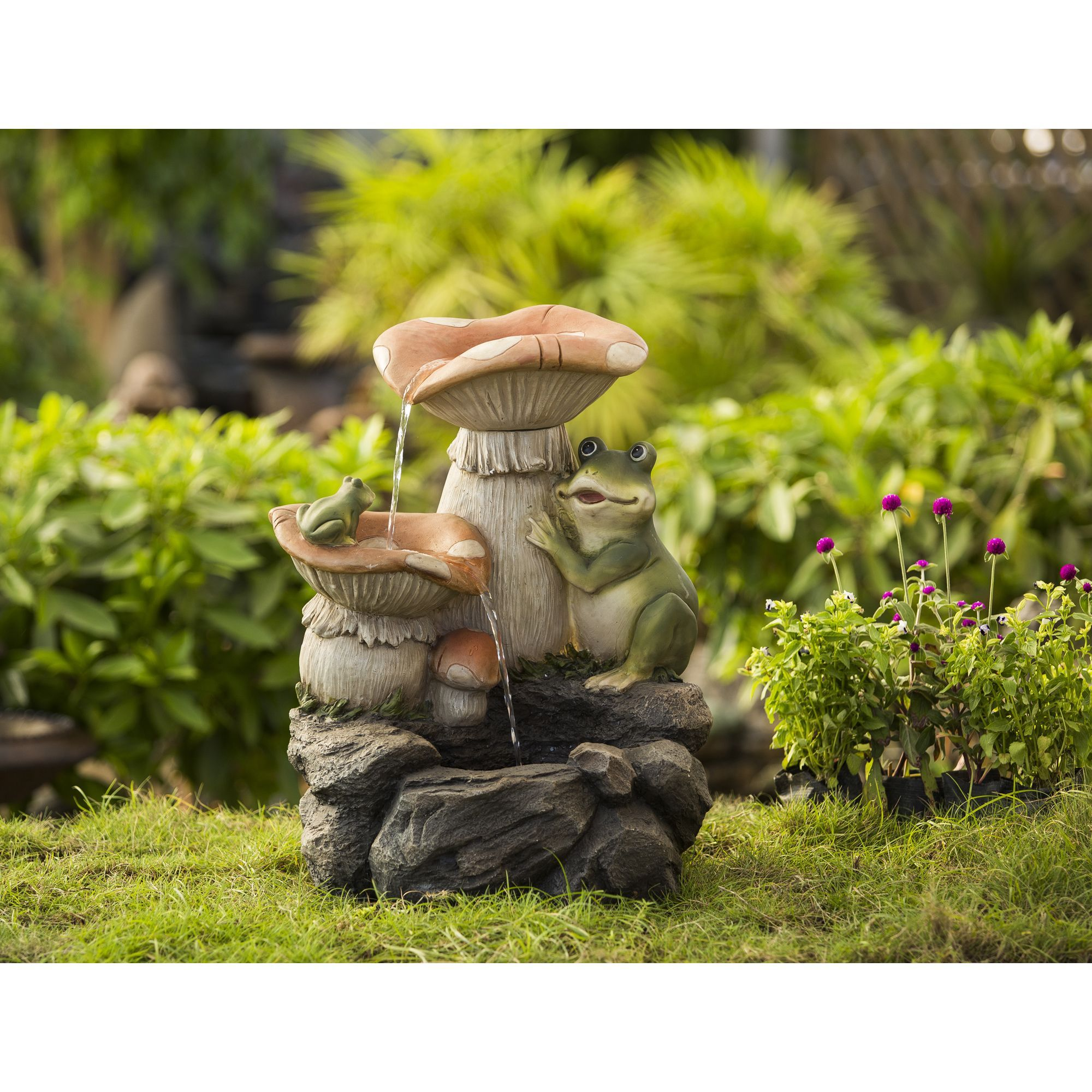 Jeco Frog Playing On Mushroom Water Fountain Multi Resin Outdoor DÃ Cor