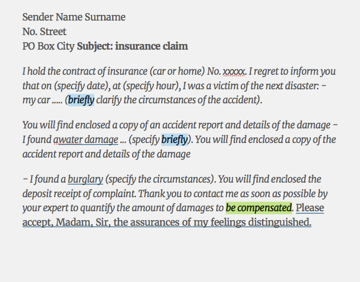 Sample insurance claim Letter FREE RESUME SAMPLE